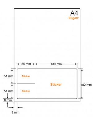 A4 Papier met 3 stickers - LW4903A