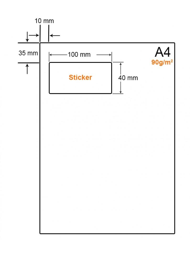 A4 Papier met 1 sticker - LW4901BL